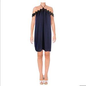 Aqua Halter cold shoulder dress